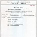 Приложение к сертификату соответствия на профили поливинилхлоридные систем т.м. «REHAU» для оконных и дверных блоков